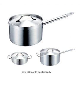 Oriental Stainless Steel Deep Sauce Pan with Sandwich Bottom and Lid