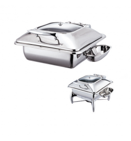 Stainless Steel Deluxe Square Chafer with Glass Show Window complete with Detachable Spoon Holder