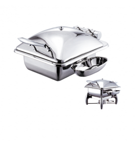 Stainless Steel Deluxe Junior Square Chafer with Stainless Steel Lid complete with Detachable Spoon Holder