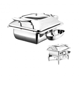Stainless Steel Deluxe Junior Square Chafer with Glass Show Window complete with Detachable Spoon Holder