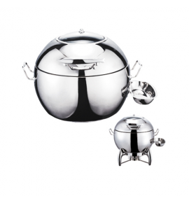 Stainless Steel Deluxe Round Dome Chafer with Show Window complete with Detachable Spoon Holder