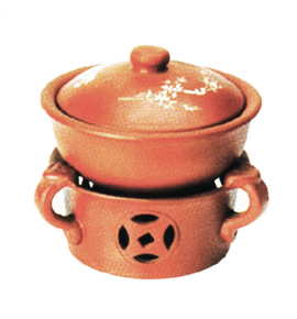 Clay Herbal Soup Tureen with Cover and Stand
