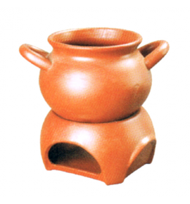 Clay 3 Piece Herbal Soup Tureen with Handles and Stand