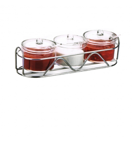 Acrylic Condiment Jar Set with Stainless Steel Wire Caddy