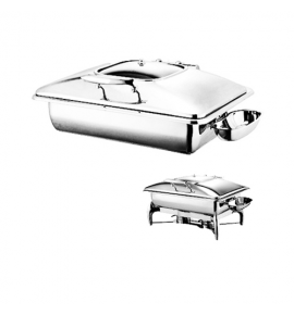 Stainless Steel Deluxe Rectangular Chafer with Stainless Steel Lid complete with Detachable Spoon Holder