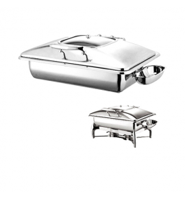 Stainless Steel Deluxe Rectangular Chafer with Glass Show Window complete with Detachable Spoon Holder